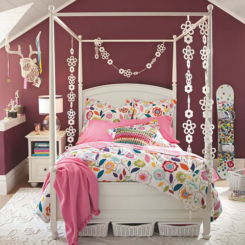 Room design ideas for teenage girls - A nice bed and cover for teenage girls or room ...