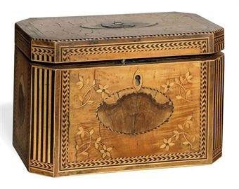 a george iii sycamore and marquetry tea caddy late 18th century d5348300h