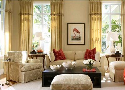 Elegant Beige Room With A Splash Of Red