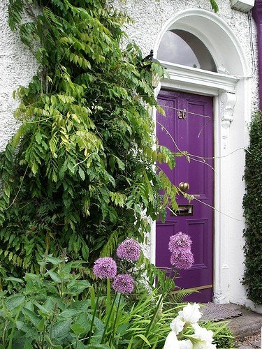 purple door - curb appeal - entryway - house design - interior design via pinterest