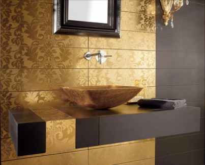 Bathroom Mirros on Black And Gold Bathroom Tiles Mirror