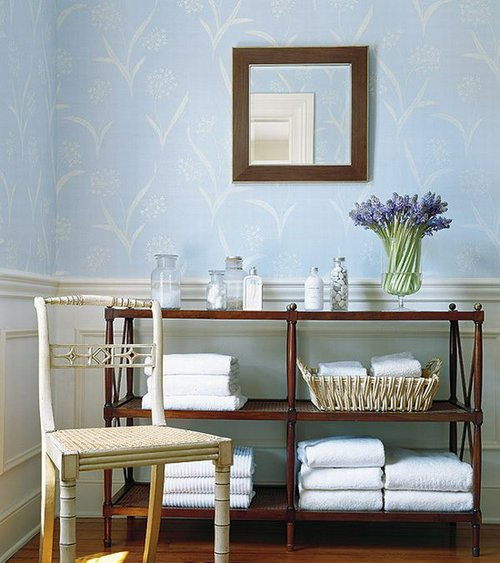 soft blue wallpaper in french country style bath room decorating idea