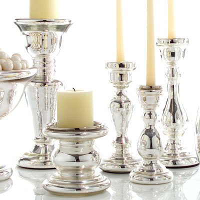 Twos Company mercury glass candle holders