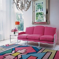 pink sofa and rug living room