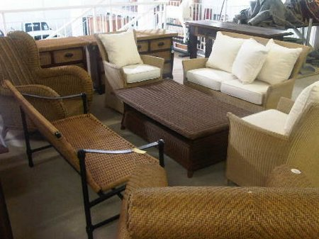 0704 Selection of wicker patio furniture