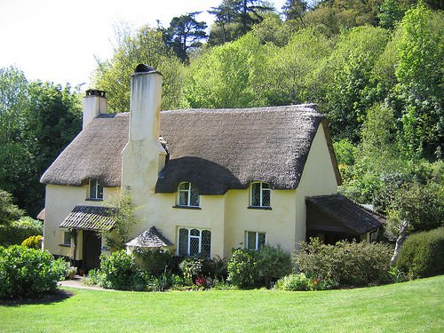 thatch-roof cottage