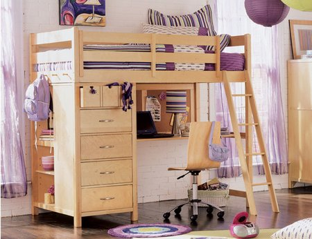 A Loft Bed With Desk