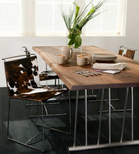 Cowboy Chic With Cowhide Dining Chairs